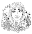 girl with flowers in her hair vector image