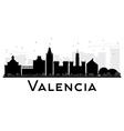 Valencia City skyline black and white silhouette vector image