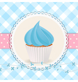 cupcake with blue icing on blue gingham background vector image