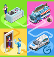 food truck fish shop home delivery isometric vector image