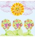 Fruit garden sun cloud landscape vector image vector image