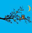 night owls on tree branch vector image