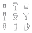 outline alcohol glasses icon set vector image
