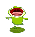 cartoon frog on a leaf with an open mouth vector image