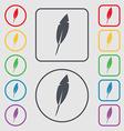 Feather sign icon Retro pen symbo Symbols on the vector image