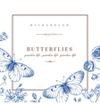card with butterflies and flowers in blue vector image