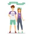 Beautiful cartoon couple fashion clothes vector image