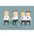 Businessman on bicycle overtaking a colleagues vector image