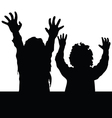 children happy silhouette vector image