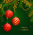 christmas background with red balls xmas baubles vector image