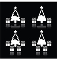 Christmas tree with presents white icons on black vector image