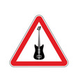 rock and roll warning sign caution rock music vector image