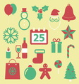 Set of Christmas icons on yellow background vector image