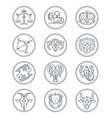 zodiac astrology line icons aries vector image