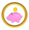 Pink pig money box icon vector image
