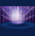 round pedestal in violet color tones vector image