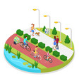 isometric city park composition with running woman vector image