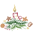Christmas candle holly vector image
