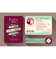 Retro Visa Passport Wedding Invitation card design vector image
