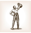 Strong man with kettlebell sketch vector image