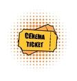 Cinema tickets comics icon vector image