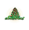 merry christmas with tree vector image