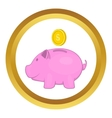 Pink pig money box icon vector image
