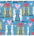 Seamless pattern of funny meerkat lovers vector image