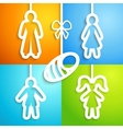 Set of applique family icons vector image