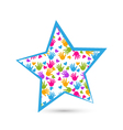 Star and colored hands logo vector image