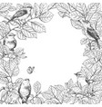 frame with birds on branches vector image vector image