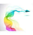 Abstract color background with paper air plane vector image
