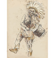 Indian Chief plays the drum and dance vector image