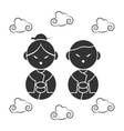 chinese icons face vector image
