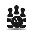 icon Bowling ball and skittles with shadow vector image