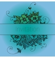 Invitation card with doodle flowers vector image