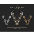 Monogram deer Totem deers Elk Horn Set of vector image