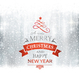 SIlver Merry Christmas typography winter vector image