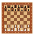 wooden chess board table and figures vector image