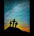 tree crosses on the night sky vector image