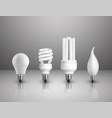 realistic electric lightbulbs set vector image