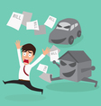 Businessman escape debt car house and bill vector image