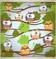 Vintage background with a cute owls vector image