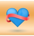 Background beautiful blue heart and ribbon vector image