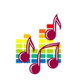 Festival or party icon with music notes vector image