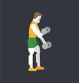 man doing bicep workout vector image