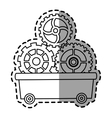 Gears inside cart design vector image