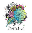 hand drawn floral invitation card cover vector image