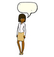 cartoon pretty businesswoman with speech bubble vector image