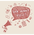 Concept of recruitment We want you vector image